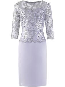 Popielata sukienka z koronką Mirella II, elegancka kreacja wykończona gipiurą. - 2844974608