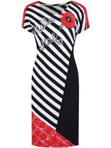 Wyszczuplająca sukienka Edyta, modna kreacja w biało-czarne paski. - 2842281796