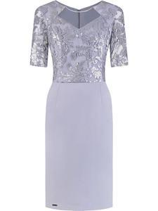 Sukienka z cekinowym gorsetem Alicja, wieczorowa kreacja z dodatkiem koronki. - 2843139835