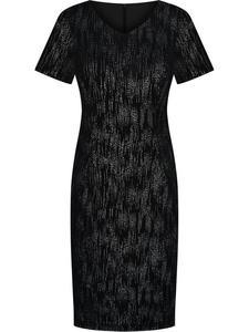 Sukienka wieczorowa Ginewra I, wyszczuplająca kreacja z połyskującym wzorem. - 2843378375