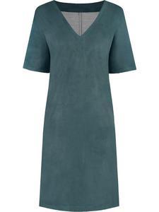 Szmaragdowa sukienka z dużym dekoltem Gosia II, modna kreacja o luźnym kroju. - 2843378416