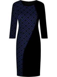 Sukienka wyszczuplająca Julianna VI, dzianinowa kreacja w geometrycznym wzorze. - 2843378446