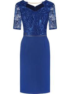 Sukienka z cekinowym gorsetem Alicja II, wieczorowa kreacja z dodatkiem koronki. - 2844292512