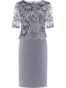 Sukienka wieczorowa Jutta II, elegancka kreacja z dodatkiem gipiury. - 2855031706