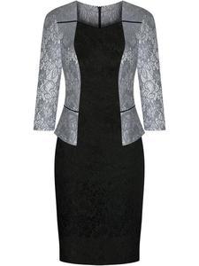 Sukienka z modną baskinką Gala VII, wizytowa kreacja wyszczuplająca biodra. - 2844524493