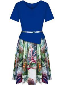 Sukienka z baskinką Klaudyna X, wiosenna kreacja w modnych kolorach. - 2846452895