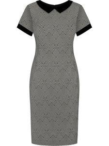 Sukienka damska Telinda VII, elegancka kreacja z modnym kołnierzykiem. - 2846790770