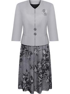Kostium damska Ludmiła, elegancka sukienka z żakietem. - 2846790872