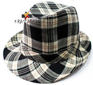 Kapelusz Krata vintage retro wzór tweedowy - 2824779144