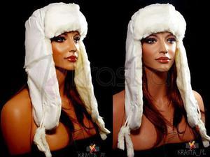Długi jamnik czapka zimowa welurowa uszatka biała - 2824779150