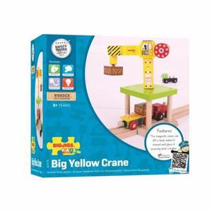 Duży zółty żuraw z magnesem do kolejki drewnianej - 2824780790
