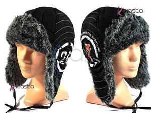 Ciepła zimowa czapka uszatka dziecięca U16 czarna - 2824779201