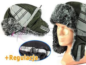 Zimowa czapka dzieciak USZATKA U30 odblaski GREEN - 2824779247
