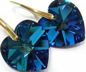 Swarovski Serce kolczyki Złote Srebro 18 BLUE - 2824147429