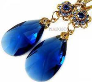 NOWE SWAROVSKI PIĘKNE KOLCZYKI BLUE FEELING GOLD - 2824147850