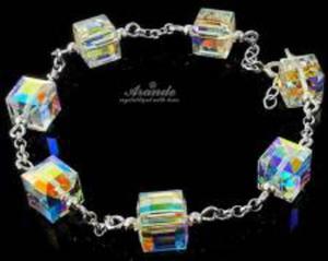 SWAROVSKI Bransoletka Srebro Crystal AURORA CUBE - 2852707550