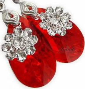 SWAROVSKI czerwone kolczyki LIGHT SIAM FLOWER - 2850926607