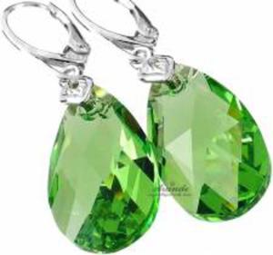 SWAROVSKI piękne zielone kolczyki PERIDOT SREBRO - 2852707774