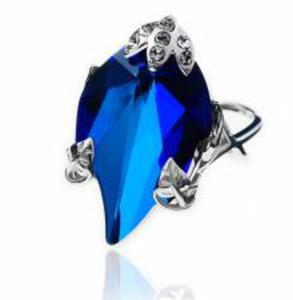 PIERŚCIONEK Swarovski Srebro BLUE LEAF OTWARTY! - 2852707899