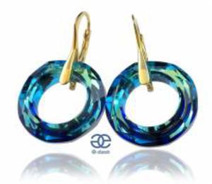 SWAROVSKI kolczyki ZŁOTE SREBRO Certyfikat BLUE - 2824150578