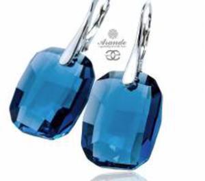 Kryształy UNIKAT kolczyki DENIM BLUE SREBRO