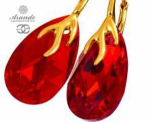 NOWE SWAROVSKI czerwone ozdobne kolczyki SIAM GOLD ZŁOTE SREBRO - 2874325506