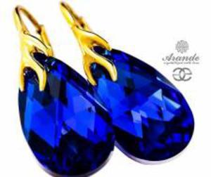 NOWE SWAROVSKI ozdobne kolczyki BLUE COMET GOLD ZŁOTE SREBRO - 2850629164