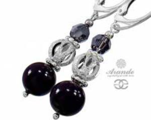 NOWE Swarovski Piękne Kolczyki CRYSTAL BLACK Srebro - 2853748746