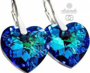 SWAROVSKI Kolczyki serca BERMUDA BLUE SREBRO - 2874325515