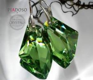 Super Cena Kryształy Piękne Kolczyki Zielone