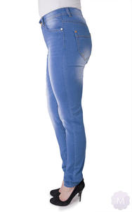 ae558bf7da631b Sklep: Mercerie.pl. Spodnie jeansowe niebieskie wytarte z prostą nogawką  wysoki stan - 2825258560