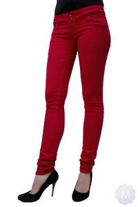 Spodnie jeansowe rurki biodrówki czerwone - CZERWONY - 2825258540