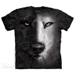 The Mountain - Black And White Wolf Face - T-shirt - 2832910102