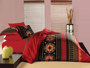 Pościel satynowa 160x200 Queen Red Faro - 2853181007