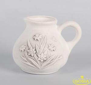 Dzbanek duży z żonkilami - figurka ceramiczna - 2848162360