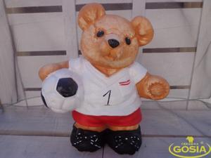 Miś piłkarz skarbonka - figurka ceramiczna - 2848162362