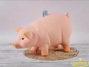 Świnka stojąca duża skarbonka - figurka ceramiczna - 2848162365