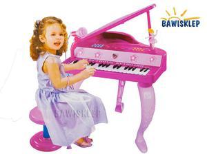 Fortepian z krzesełkiem i mikrofonem na baterie - 2841552436