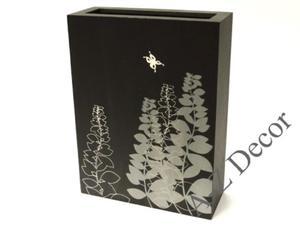 Prostokątny czarny wazon drewniany PRADO 41cm [002882] - 2866221907