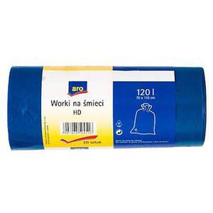 Worki na śmieci ARO HD 120l. - niebieskie 20szt. - 2847291659