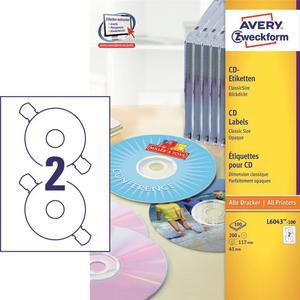 Etykiety AVERY ZWECKFORM CD/DVD op.100 L6043-100 - 2847296513