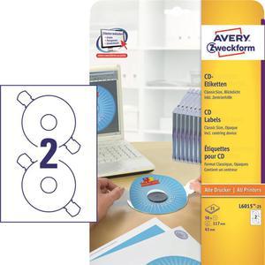 Etykiety AVERY ZWECKFORM CD/DVD op.25 L6015-25 - 2847296514