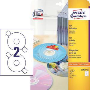 Etykiety AVERY ZWECKFORM CD/DVD op.25 L6043-25 - 2847296521
