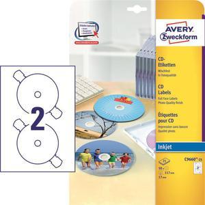 Etykiety AVERY ZWECKFORM CD/DVD op.25 C9660-25 - 2847296523