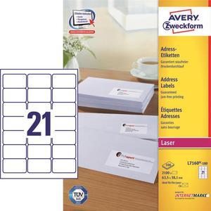 Etykiety AVERY ZWECKFORM adres 63,5x38,1 L7160 - 2847296524