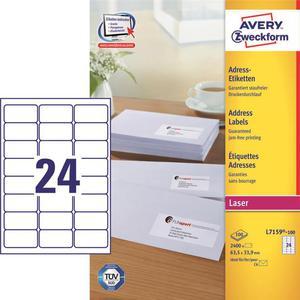 Etykiety AVERY ZWECKFORM adres 63,5x33,9 L7159 - 2847296532