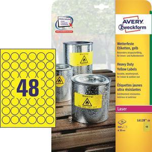 Etykiety AVERY ZWECKFORM HD fi30 żółte L6128-20 - 2847296540