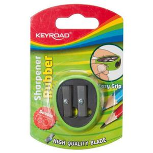 Temperówka KEYROAD plastikowa podwójna z gumką blister mix kolorów - 2881306842