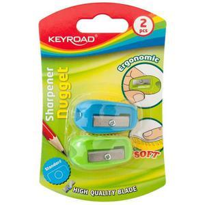 Temperówka KEYROAD Nugget plastikowa podwójna 2szt. blister mix kolorów - 2881306843