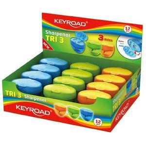 Temperówka KEYROAD Tri 3 plastikowa potrójna z pojemnikiem pakowane na displayu mix kolorów - 2881306875